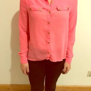 Button up Hot Pink blouse